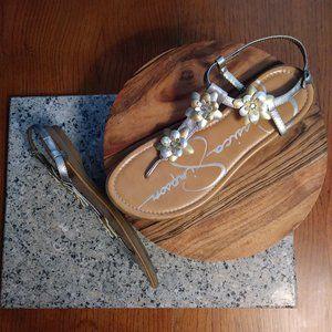 Jessica Simpson Bejeweled Flat Dress Sandals 5M